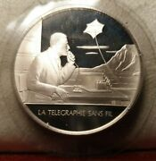 French Silver 35mm Medal Great Inventions Italy Marconi Telegraph Wireless