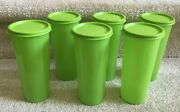Set Of 6 Tupperware 16 Oz Tumblers With Lids Lime Green 5107 Free Shipping