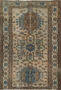 Antique Muted Geometric Traditional Oriental Area Rug Distressed Handmade 4x5 Ft