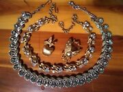 Fabulous Vintage Rhinestones Heavy Chokers Colors W Unique Fly Brooch Apple Pin