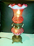 Fenton Cranberry Opalescent Polka Dot Lamp W/lighting In The Shade And Base
