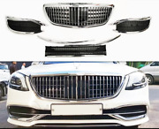 For Mercedes Benz S Class W222 Change Maybach Style Front Grill Bumper Grille