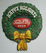 Vintage 1971 Falls City Beer Happy Holidays 3-d Sign- 18 X 15