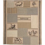Sawyer Mill Charcoal Farm Animal Quilt Hand Quilted Throw - 60w X 50l Reversible