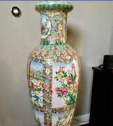 5 Feet Tall Chinese Vase Asian China Antiques Oriental Porcelain W/ Wood Stand