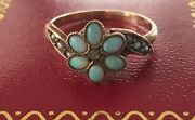 Antique Victorian 10k Opal Cluster Ring, Rose Diamond, Pearls