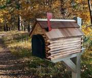 Amish Mailbox - Handmade Wooden Log Cabin Style, Cedar Roof And Metal Box Insert