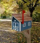 Amish Mailbox - Multi Colors - Wooden - With A Tall Prominent Sturdy Flag