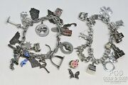 Vintage Sterling Silver Charm Bracelets And Charms Asst W/mechanical 98.2gr 18656