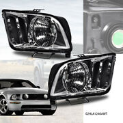 Left+right Pair Replacement Headlights Headlamp Fit For 2005-2009 Ford Mustang