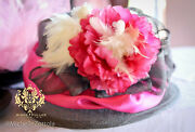 Kentucky Derby Hat Hot Pink Floral Grey Silk Sinamay Del Mar Races Opening Day