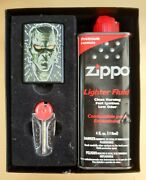 Zippo Lighter,demon,nickel-plated Brass,gift Box,6 Spare Flints,all Parts New