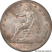 1875-s Us Silver Trade Dollar Pcgs Ms64