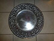 Wilton Armetale Pewter William And Mary Round Platter Tray Plate Charger 17 1/2