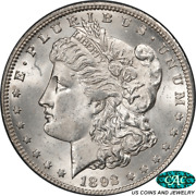 1892-cc Morgan Silver Dollar Pcgs And Cac Ms63 Frosty White Coin Pq+