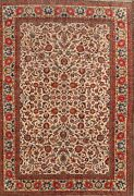 Antique Floral Traditional Oriental Area Rug Hand-knotted Wool Ivory Carpet 8x11
