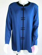 Exclusively Misook Woman Blue Black Pullover Shirt Tunic Plus Sz 2x - Nwt