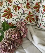 Cushions Covers French Folklore Barge Ware Design Stitched Raised Crewl Work