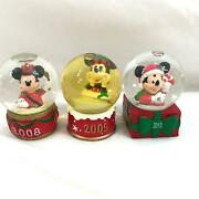 Lot Set Of 3 Mickey Mouse Disney Snow Globes 2008 2009 2013 Lot Jcpenny Edition