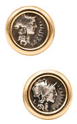 Coin Earrings In 14 Kt Gold With 114 Bc Roman Silver Denarius Of M. Cipius Great