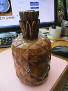 Antique Treen Wooden Tea Caddie Pineapple Lock And Key Wow Rare