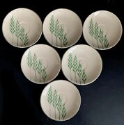 Saucer Plates Leigh Ware Green Wheat 5andrdquo Vtg Art Deco Set 6 Leigh Potters