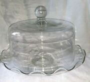 Princess House Heritage Crystal Clear Glass 2 Piece Covered Cake Plate Dome Nice