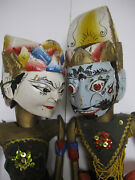 Lot Of 2 Bali Indonesian Rod Puppets Carved Wood 22h Vintage Marionettes
