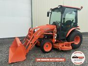 2018 Kubota B3350hsd Tractor W/ Loader And Belly Mower Cab 4x4 Hydro 413 Hrs