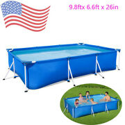 Bestway-9.8ftx 6.6ft X 26in Rectangular Above Ground Swimming Pool Kit Outdoor