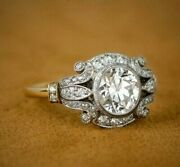 2.51 Ct Round Diamond Antique Victorian Engagement Ring 14k White Gold Over