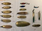 Kastmaster 2 Oz Gold Spoons 3 1/2 Inch Fishing Assorted Spoons 16 + Items