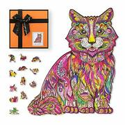 Wooden Jigsaw Puzzles For Adults And Kids, Unique Animal Shaped Cute Cat