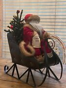 Large Santa And Sleigh With Toys And Christmas Tree