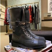 2021 Fall-winter Black Lace Up Boots 35-42 Eur Size