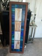 Vintage Antique Stained Glass Window Panel 59 Inches Tall X 18 Inches Wide