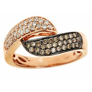 Beautiful 0.60 Tcw Andnbspbrown Diamond 14k Rose Gold Bypass Pave Ring