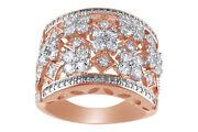 White Sapphire 14k Rose Gold Over Sterling Silver Cluster Ring