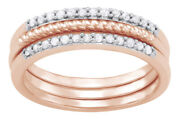Diamond 14k Rose Gold Over Sterling Silver Textured Stack Ring Set
