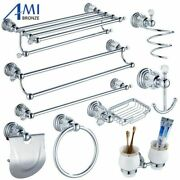 Tissue Roll Holder Toilet Brush Soap Dish Chrome Wall Mount Bathroom Accessories