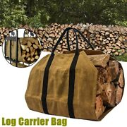 Outdoor Tote Camping Carry Bag Canvas Firewood Carrier Log Storage Package Bag