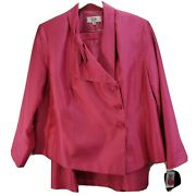 Le Suit Pink 2 Piece Blazer And Skirt Plus Size 20w Lined Iridescent Career New