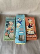 Vintage Three Boxes Donald Duck And Mickey Mouse Sunshine Straws Super Long