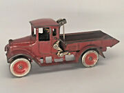Antique 1920and039s Arcade Cast Iron International Harvester Red Baby Dump Truck