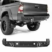 Black Rear Bumper W/ License Plate Led Lights Steel For Toyota Tacoma 2005-2015