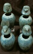 Xxl Rare Ancient Egyptian Antiques Set Of 4 Canopic Jars Organs Sons Of Horus Bc