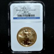 2006-w 50 Gold American Eagle ✪ Ngc Ms-69 ✪ 1 Oz Burnished 20th Anv ◢trusted◣