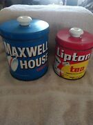 Vtg Maxwell Coffee Lipton Tea Canister Button-top Tin Jl Clark Container 1960's
