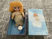 Used Precious Moments Guardian Angel Doll And Pin 14 H With Stand