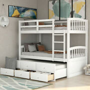 Gfd Home - Twin Bunk Bed With Ladder Safety Rail Twin Trundle Bed With 3 Dr...